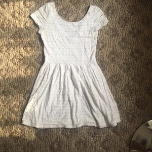 Aqua white textured t shirt flare dress - Medium